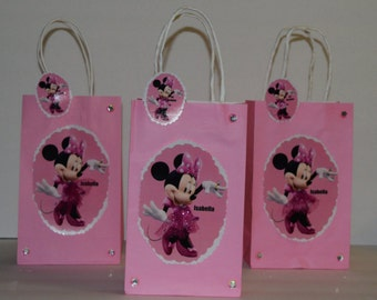 INSPIRED 12pc Disney Minnie Mouse Memo(1st Birthday) & (Isabella) Birthday Party Favor Goody Gift 3D Bags hand made with real picture