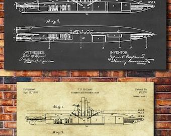 Submarine Patent Print Art 1892