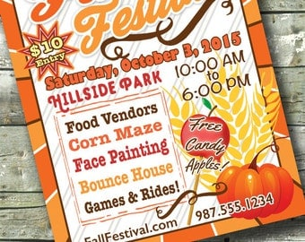 FALL FESTIVAL FLYER ~ 5x7 Invite ~ 8.5x11 Flyer ~ 11x14 Poster ~ 300 dpi Digital Invitation