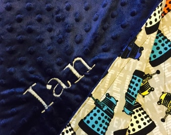 Personalized DR. WHO Dalek Minky Dot Baby Blanket