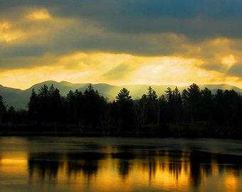 Sunrise Photography, Adirondack Decor, Mirror Lake, Adirondack Print, Sun Rays in Lake Placid, Sun Rays Print, Adirodack Photo, Nature Photo