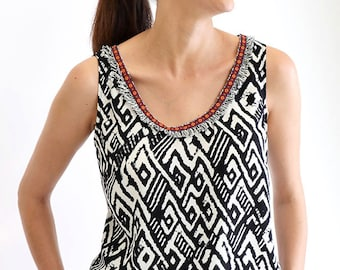 Aztec Top, Women Tank, Black And White Top, Tribal Clothing, Plus Size Tank, Cotton Top, Folklore Clothing, Extravagant Tank, Designer Top