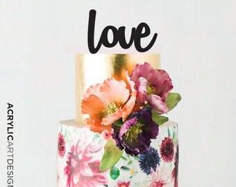 Love Cake Topper for Weddings by Acrylic Art Design/ Love Script-Modern Love Word