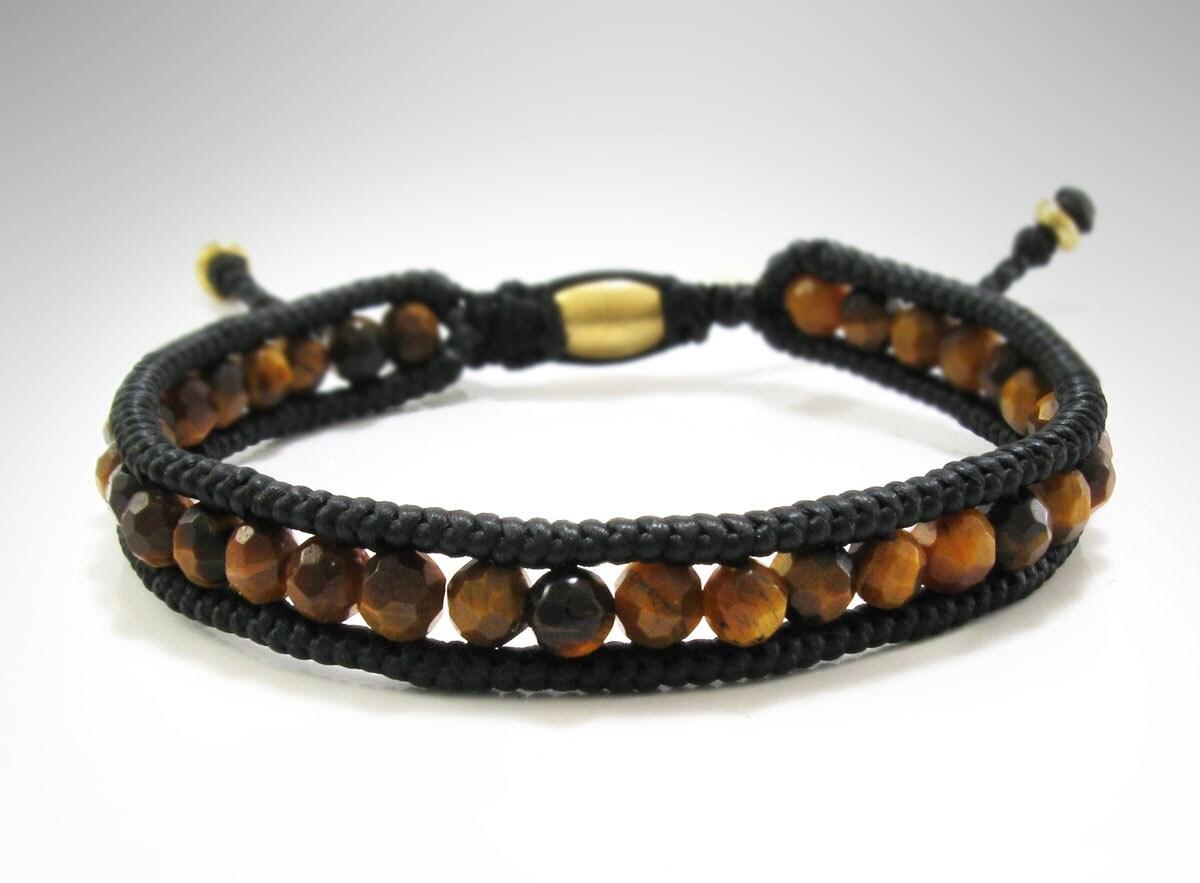 mens tiger eye bracelet wrap bracelet handmade gemstone