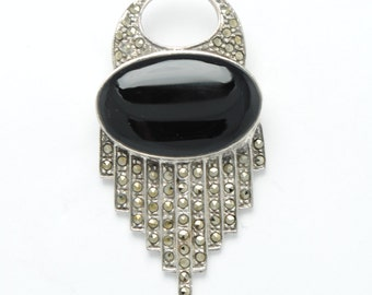 Vintage silver brooch onyx et marcassite