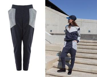 Drop Crotch Pants With Pockets / Low Crotch Baggy Pants / Cotton Sweatpants / Sporty Harem Pants / Vegan Fashion / Winter Fashion / Tangens