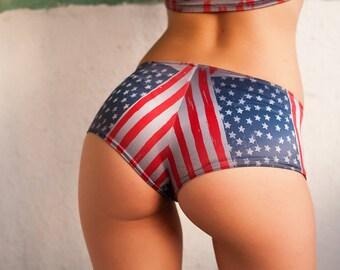 American flag Shorts. US flag hot pants. Gymnastics Shorts. Gym Beach Dance Festival shorts. Booty shorts. Low rise shorts. Cheeky shorts