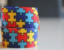2 m red blue yellow grosgrain Ribbon blue puzzle