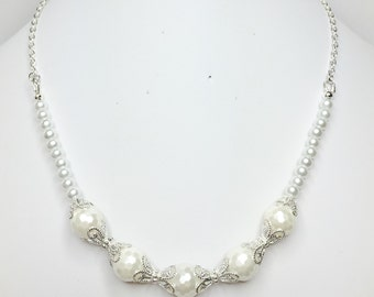 White Shell Pearl Bridal Necklace Wedding Necklace White & Silver Necklace Bridesmaid Gift Mother of the Bride Gift White Wedding Jewellery