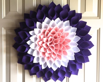 Flower Wall or Door Decor - Summer Wreath - Purple and Pink Flower