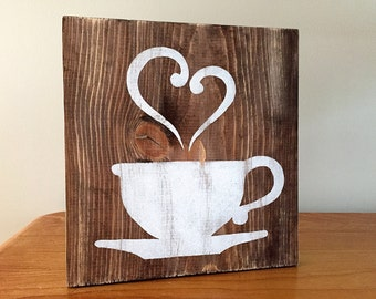 Kitchen Decor  - Coffee Decor - Tea Decor - Coffee Cup - Tea Cup - Rustic Wall Decor - Farmhouse Decor