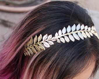 Greek Metallic Leaf Design Headband
