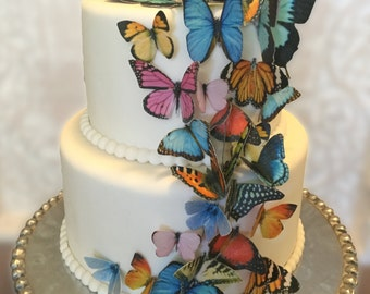 Edible Cake Decorations - Butterflies, 3-D Wafer Paper Double-Sided Toppers for Cakes, Cupcakes or Cookies