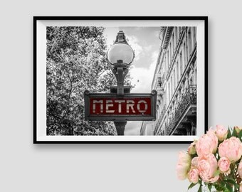 Printable Paris Metro Decor Paris Subway Art Paris Print Photography Paris Wall Art Paris Instant Download