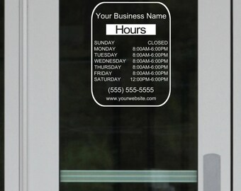 Hours Decal Etsy - Window decals for business hours