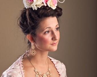 Gold Antoinette Harlots Ship Fascinator Pink Rose Antoinette Kawaii Masquerade Headdress Pearl Rococo Headpiece Glitter Halloween Costume