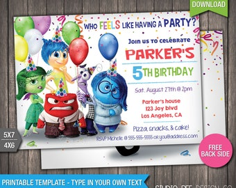 85% OFF Inside Out Invitation - INSTANT DOWNLOAD - Printable Disney Pixar Inside Out Movie Invite - DiY Personalize & Print - (IOin05)