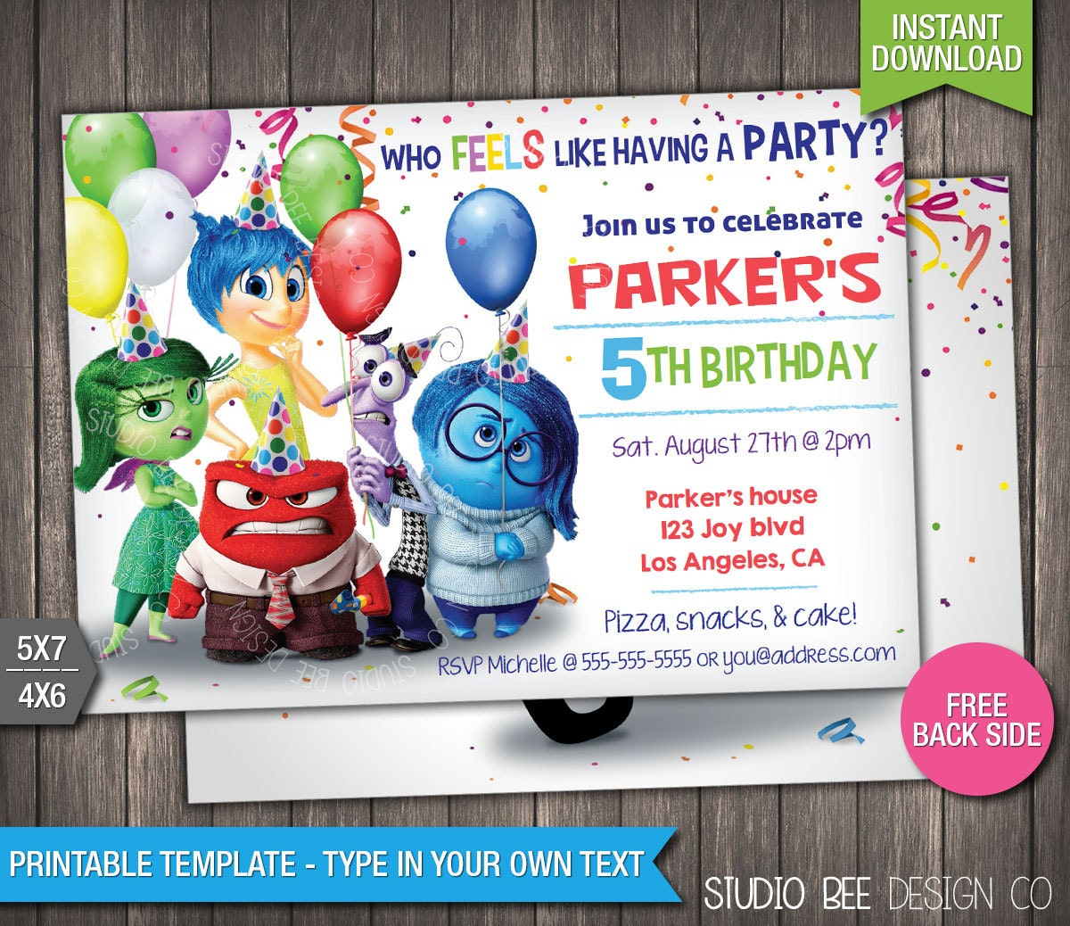 OFF Inside Out Invitation INSTANT DOWNLOAD Printable - Birthday invitations inside out