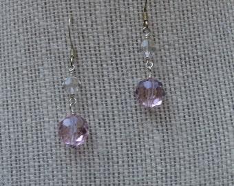 Pink Crystal Earrings, Crystal Earrings, Pink Crystal, Dainty Earrings