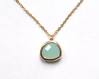 Gold Plated Aqua Glass Pendant Necklace