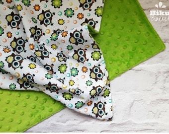 Green Owls Baby Blanket - Minky Plush Blanket - Baby Shower Gift - Gender Neutral - Nursery Idea -  Cotbed Blanket - Baby Blanket UK