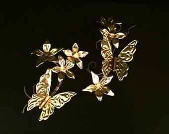 Mid Century Brass Butterflies and Flowers         VG1759