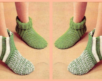 Instant PDF Download Vintage Crochet Pattern to make Ladies Men's Children's Family Slippers, Slipper Socks Striped and Plain