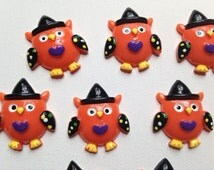 Set of 10 Halloween Owl embellishments  - Flat back - Great for all of your projects!