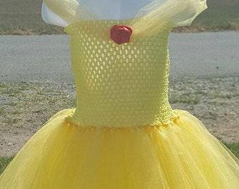 Princess Belle Tutu dress, Beauty and the Beast tutu dress, Belle Costume, Crochet Belle tutu