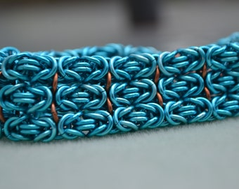 Byzantine Cuff Teal Anodized Aluminum and Copper Chainmaille Bracelet