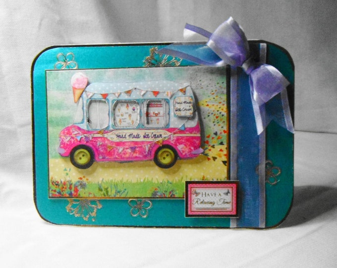 3D Decoupage Card, Greeting Card, Birthday Card, Female, Any Age, Young Teenager, Sister, Daughter, Niece, Ice cream van