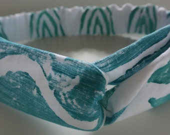Hand Stamped Teal Patterned Cotton Knotted Headband