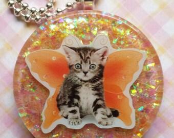 Cat Resin Necklace, Resin Cat Pendant, Resin Cat Jewelry, Fairy Cat Necklace, Fairy Cat Pendant, Cat Resin Jewelry
