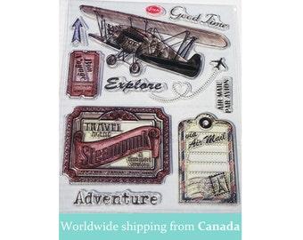 Vintage Exploration Acrylic Stamp set / Clear Stamps  (Set of 10) / Travel Stamps / Voyage Stamps