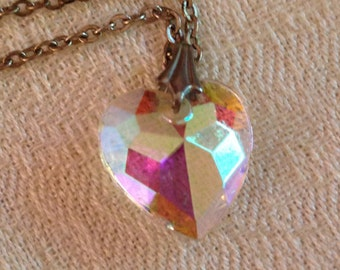 Aurora Borealis Vintage Faceted Heart Pendant on Silvertone Chain