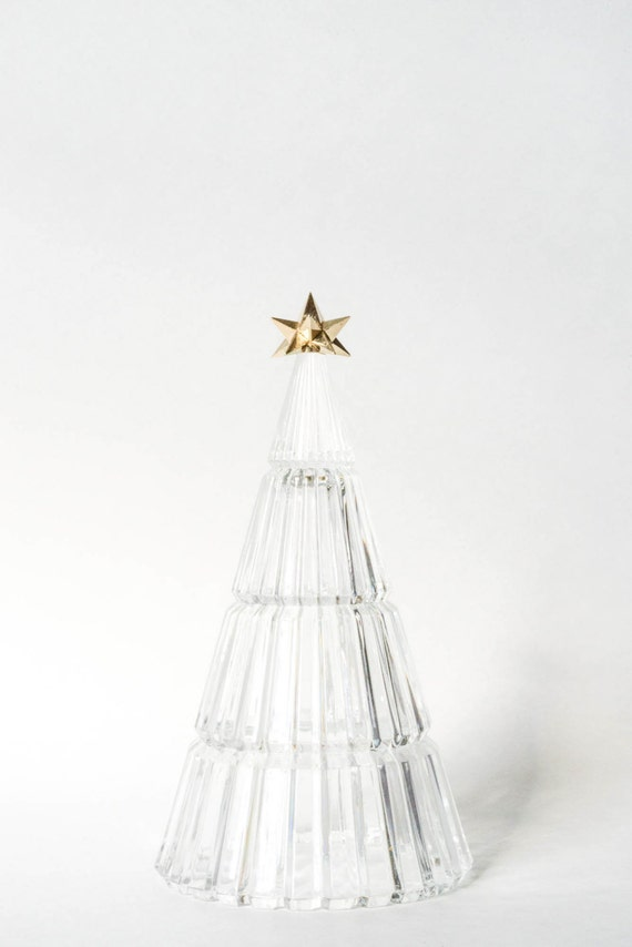 Vintage art deco crystal christmas tree with gold star clear