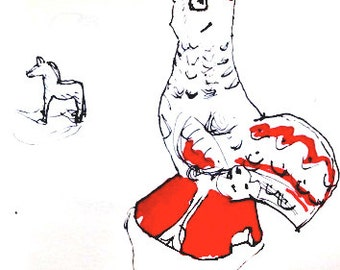 Art print 'Little red rooster' by Tobbetecknare. Poster print