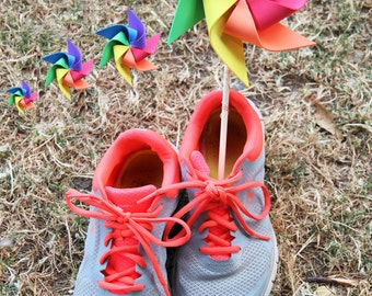 4 RAINBOW Pinwheels - SPIN in the wind, PRIDE parade, Party Pinwheels