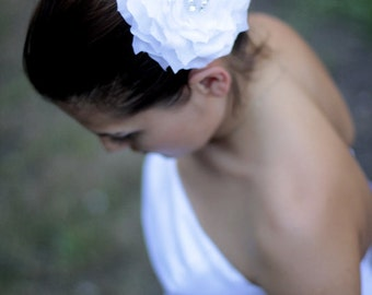 White rose bridal hair flower, bridal head pieces, flower head pieces