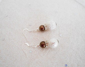 Set of 5 pairs earrings, Brown earrings, Bridesmaid earrings, Brown Bridesmaid sets, unique for wedding, bridal, Brown Wedding jewelry