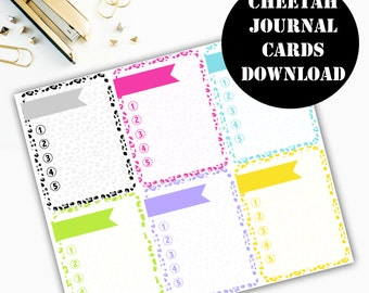 Cheetah Print Journaling Card Printable / Journal Cards / Scrapbook Kit / Journaling List / Listers Gotta List / Instant Download 00068
