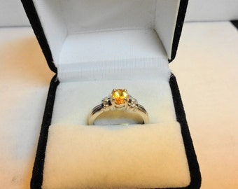 Citrine in Platinum over Silver Ring