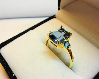 London Blue Topaz Ring.  London Blue Topaz in a 14kt. gold ring.