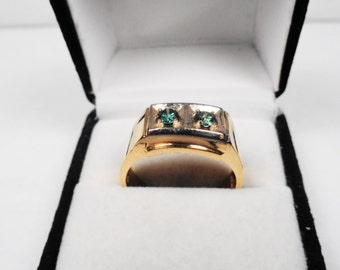 Men's Diamond Ring 14kt. Gold Men's Green Diamond ring