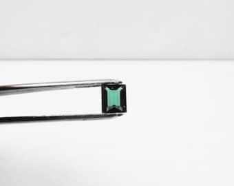 Natural Teal Blue Green Tourmaline 1.58ct. Emerald Cut Loose Gemstone.