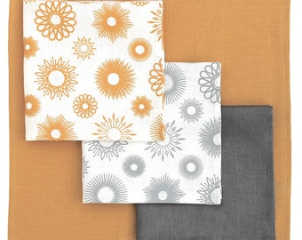 4 Irish linen napkins, hand printed sunburst pattern