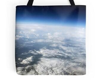 Blue bag, blue tote, earth bag, environmentally friendly bag, kitchen bag, shopping bag, grocery tote, book tote, reusable bag, picture bag