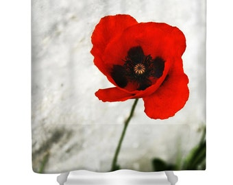 Red Shower Curtain, Red Bathroom Decor, Floral Shower Curtain, Poppy Shower  Curtain,