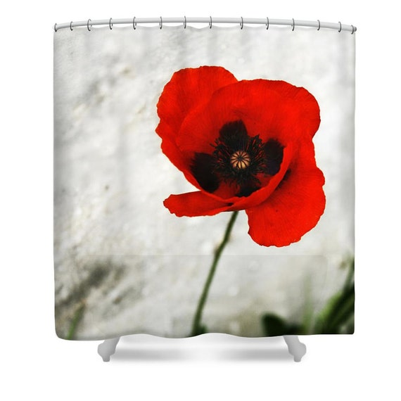 Red Shower Curtain Red Bathroom Decor Floral Shower Curtain