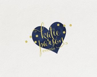 Premade Heart Logo Design, Golden Foil Dots, Blue Navy, Elegant, Customizable, Event Planning